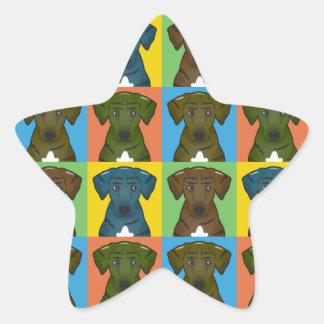 Estallido-Arte del dibujo animado del perro de Calcomanías Forma De Estrella Personalizadas