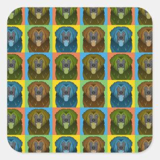 Estallido-Arte del dibujo animado del perro de Calcomanías Cuadradass Personalizadas