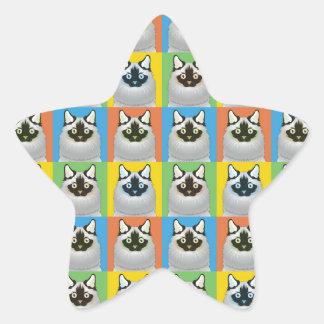Estallido-Arte del gato del dibujo animado de Calcomanía Forma De Estrella