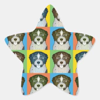 Estallido-Arte Wirehaired alemán del dibujo Pegatinas Forma De Estrella