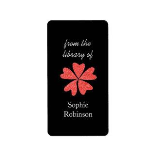 Estallido de bookplates personalizados florales ro etiqueta de dirección