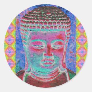 Estallido de Buda con las fronteras amarillas y Pegatina Redonda