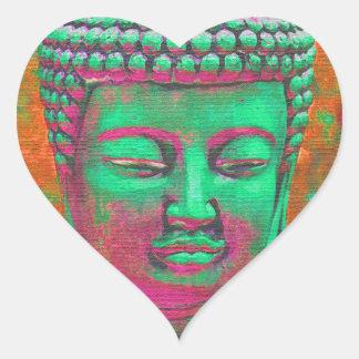 Estallido de Buda con las fronteras del remiendo Pegatina En Forma De Corazón