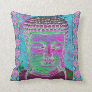 Estallido de Buda en magenta y turquesa Cojín