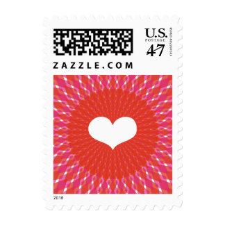 Estallido del corazón de la tarjeta del día de San Sello Postal