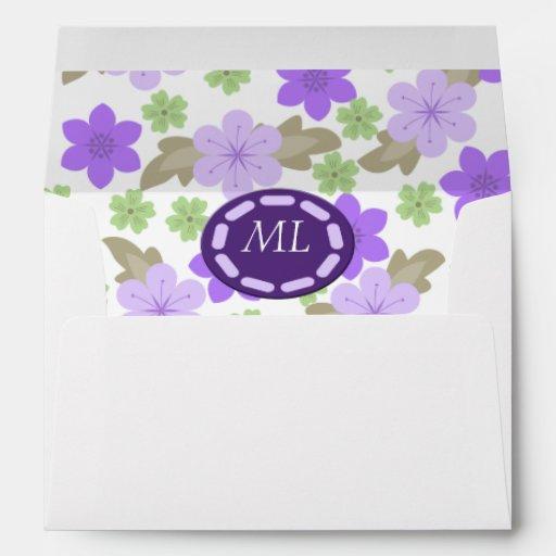 Estallido del monograma púrpura del jardín de flor sobres