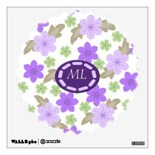 Estallido del monograma púrpura del jardín de vinilo decorativo