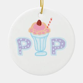 Estallido púrpura del helado adorno redondo de cerámica