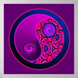 Estallido púrpura Yin Yang Póster
