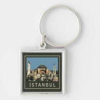 Estambul Hagia Sophia Llavero Cuadrado Plateado