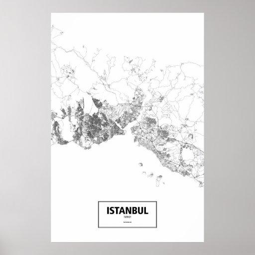 Estambul, Turquía (negro en blanco) Póster