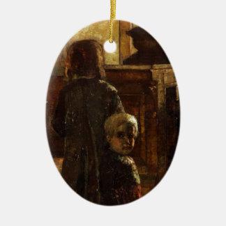 Estaminet - Flemish Tavern 1884 by Lesser Ury Ceramic Ornament