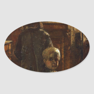 Estaminet - Flemish Tavern 1884 by Lesser Ury Oval Sticker