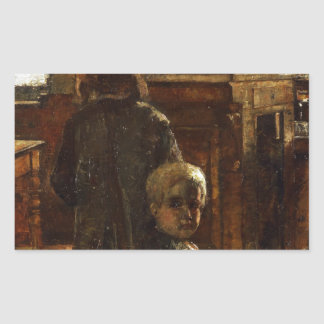 Estaminet - Flemish Tavern 1884 by Lesser Ury Rectangular Sticker