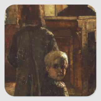 Estaminet - Flemish Tavern 1884 by Lesser Ury Square Sticker