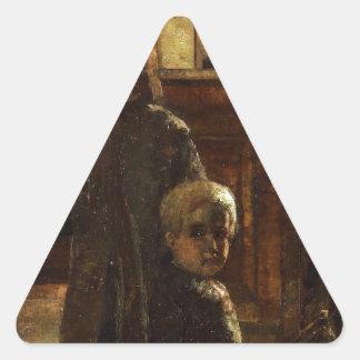Estaminet - taberna flamenca 1884 por poco Ury Pegatina Triangular