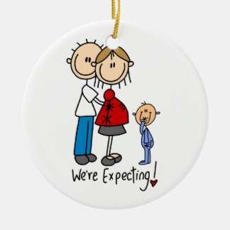 Estamos contando con pares con el ornamento del adorno navideño redondo de cerámica