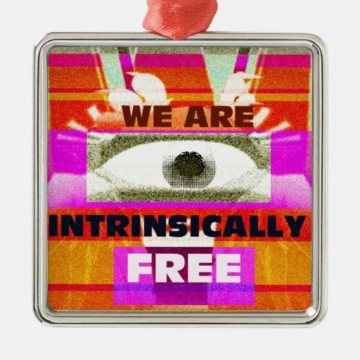 Estamos intrínseco libres adorno cuadrado plateado
