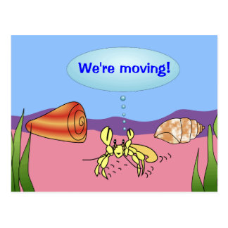 Estamos moviendo el cambio de cangrejo de ermitaño tarjeta postal