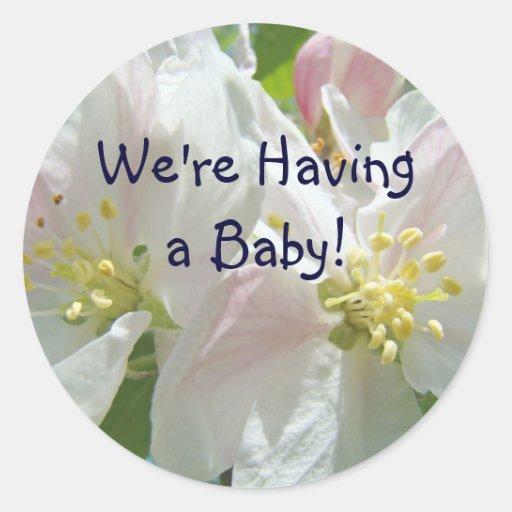 ¡Estamos teniendo un bebé! los pegatinas Apple Etiquetas Redondas