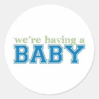 ¡Estamos teniendo un bebé! Pegatina Redonda