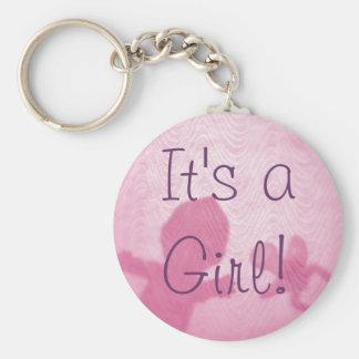 """¡""""Estamos teniendo un chica! Bebé rosado lindo Llaveros Personalizados"""