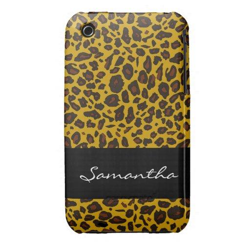 Estampado de animales adaptable del leopardo funda para iPhone 3