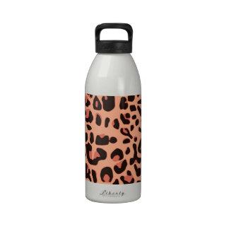 Estampado de animales anaranjado botella de agua