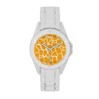 Estampado de animales anaranjado ambarino de la ji relojes de pulsera