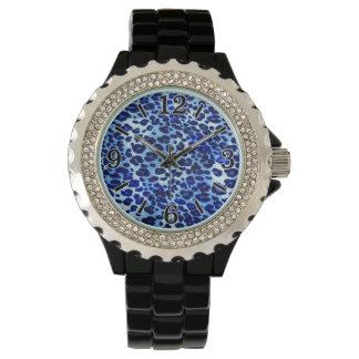 Estampado de animales azul abstracto del guepardo reloj