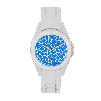 Estampado de animales azul azul de la jirafa reloj