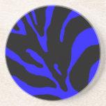 Estampado de animales azul de la raya de la cebra posavaso para bebida