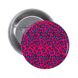 Estampado de animales azul rosado del leopardo pin redondo de 2 pulgadas