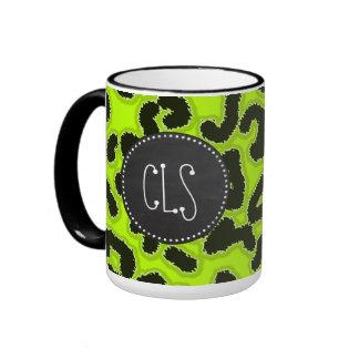 Estampado de animales chartreuse del leopardo; Mir Taza De Café