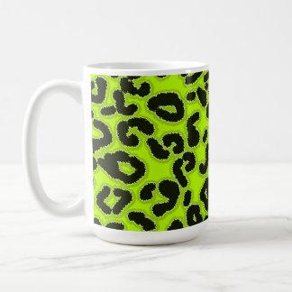 Estampado de animales chartreuse del leopardo taza de café