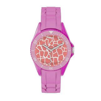 Estampado de animales coralino ligero de la jirafa relojes de pulsera