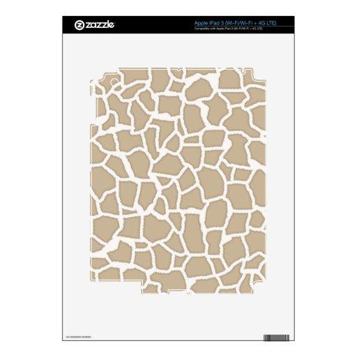 Estampado de animales de color caqui de la jirafa iPad 3 skins