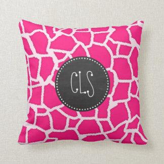 Estampado de animales de color rosa oscuro de la j almohada
