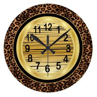Estampado de animales de Jaquar con diseño del Reloj Redondo Grande
