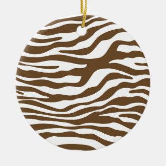 Estampado de animales de la cebra de Brown Adorno De Navidad