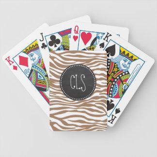 Estampado de animales de la cebra de Chamoisee; Pi Baraja Cartas De Poker