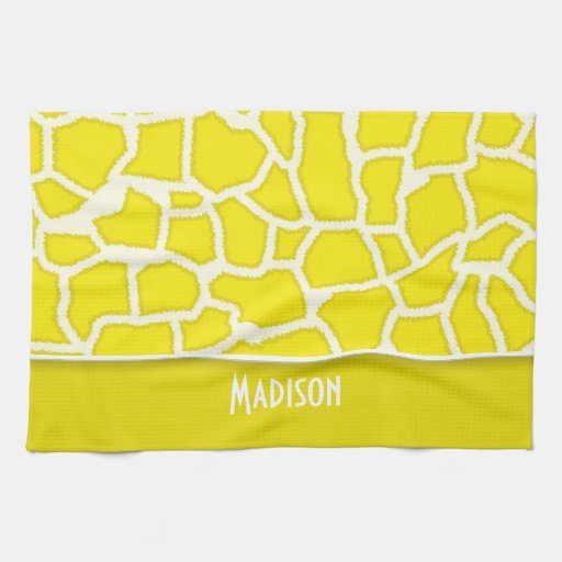 Estampado de animales de la jirafa del amarillo am toallas de mano