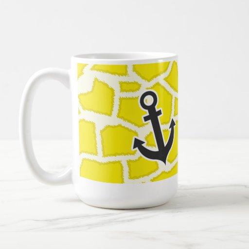 Estampado de animales de la jirafa del amarillo am tazas de café