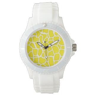 Estampado de animales de la jirafa del amarillo relojes de mano