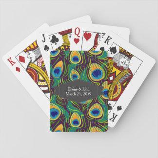 Estampado de animales de la pluma del pavo real cartas de juego