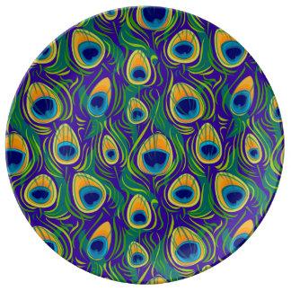 Estampado de animales de la pluma del pavo real plato de porcelana