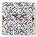 Estampado de animales de moda femenino colorido fr relojes de pared