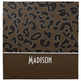 Estampado de animales del leopardo de Brown oscuro Servilletas De Papel