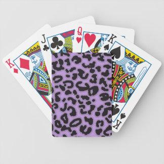 Estampado de animales del leopardo de la lavanda baraja cartas de poker
