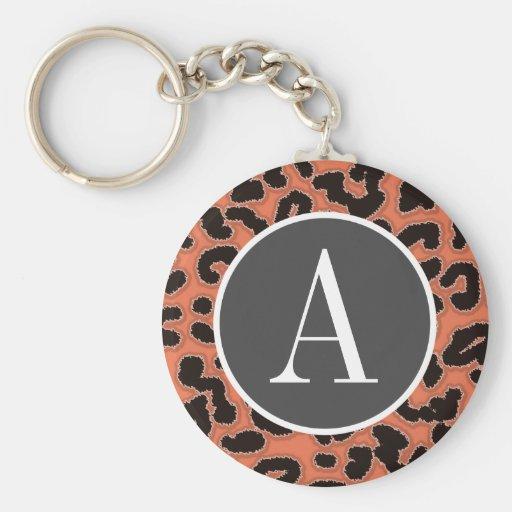 Estampado de animales del leopardo de la tierra de llavero personalizado